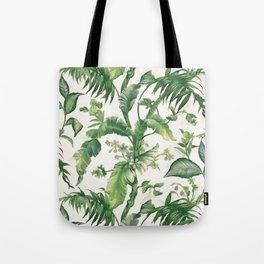 Green tropical leaves Tote Bag
