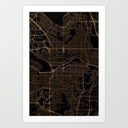 Black and gold Calgary map Art Print