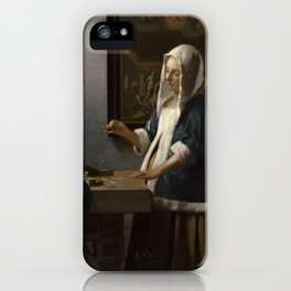 Woman Holding a Balance Johannes Vermeer iPhone Case