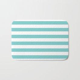 Horizontal Aqua Stripes Bath Mat