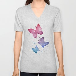 Butterflies Watercolor Abstract Splatters Unisex V-Neck