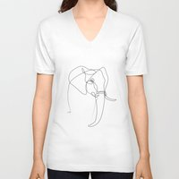 quibe V-neck T-shirts featuring Elephant line by quibe
