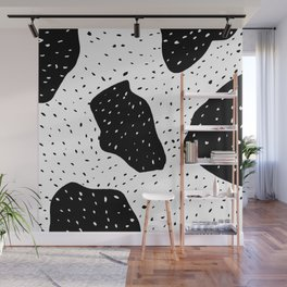 Modern geometric abstract black white color block polka dots pattern Wall Mural