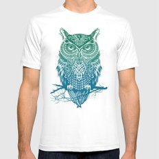 Warrior Owl Mens Fitted Tee MEDIUM White