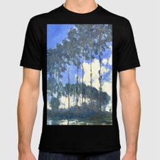 Monet : Poplars on the River Epte Black Mens Fitted Tee LARGE