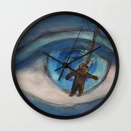 Kraken eyeball vs deep sea diver Wall Clock
