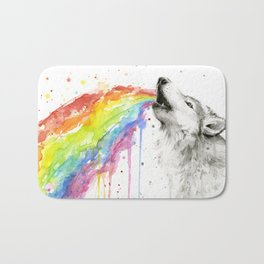Wolf Rainbow Watercolor Animal Bath Mat