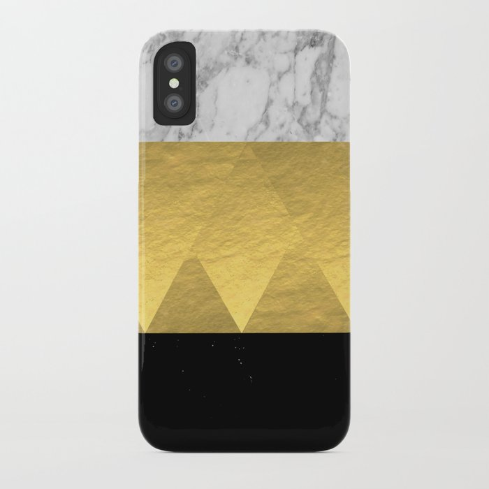 Stacked Gold Foil Black And Marble Cell Phone Case