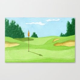 Golf Course Putting Green Watercolor Painting Canvas Print
