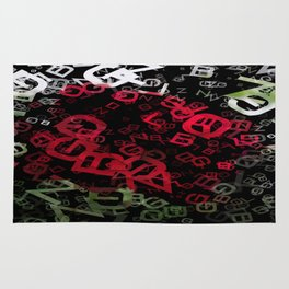 Red Rose Edges Letters 3 Rug