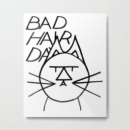 FeltTipCat - Bad Hair Cat  Metal Print
