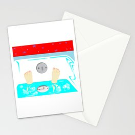 Soaking in the Tub with Red Wallpaper Stationery Cards