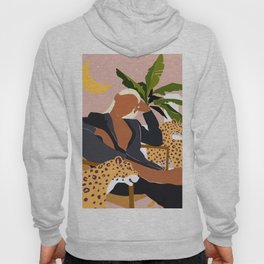 Girl Boss, Woman Empower Feminism Cheetah Illustration, Wild Cat Tiger Boho Leopard Tropical Moon Hoody