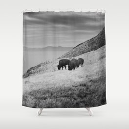 Bison overlook ( Black and White) Shower Curtain