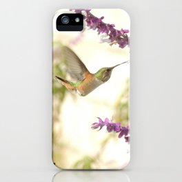 Ms. Hummingbird Checks Another Nectar Source iPhone Case