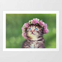 Springtime Feline Princess Art Print