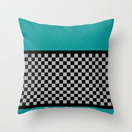 Checkered/Textured Cyan Throw Pillow