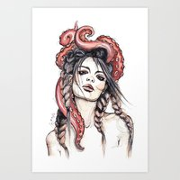 octopus Art Prints featuring Octopus by Nora Bisi