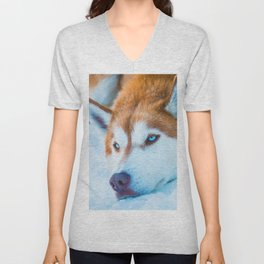 Sleepy Orange Siberian Husky (Color) Unisex V-Neck