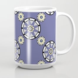 Purple Nine-Pointed Flower Pattern Coffee Mug