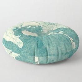 San Diego Map Blue Vintage Floor Pillow