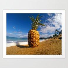 Beached Pineapple Art Print