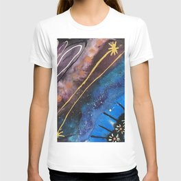 Jewel Toned Abstract with Floral Details T-shirt