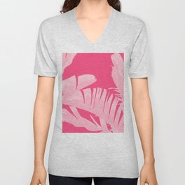 Chill Pink Tropical Banana Leaves Design Unisex V-Neck