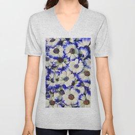 White and Blue Daisies II Unisex V-Neck