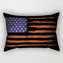 Grunge USA on black Rectangular Pillow