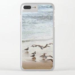 Seagulls on the seashore Clear iPhone Case