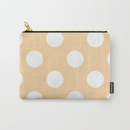 Large Polka Dots - White on Sunset Orange Carry-All Pouch