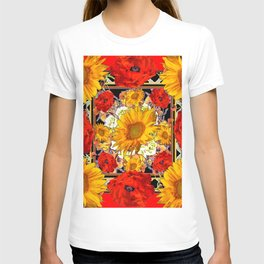ORANGE-RED POPPIES DECORATIVE SUNFLOWERS FLORAL T-shirt