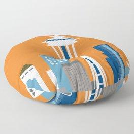 Seattle, Washington - Skyline Illustration by Loose Petals Floor Pillow