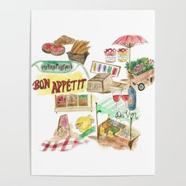 French Food Market Poster