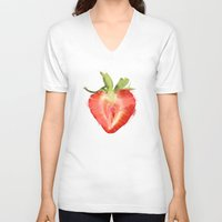 strawberry V-neck T-shirts featuring strawberry by Cindy Lepage