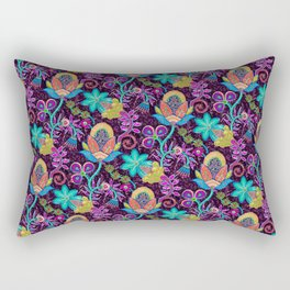 Colorful Glass Beads Look Retro Floral Design Rectangular Pillow