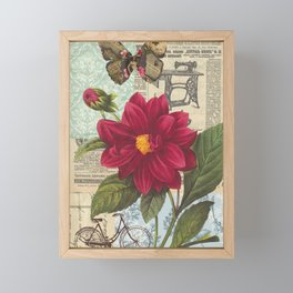 Ride with a Butterly and a Flower Framed Mini Art Print