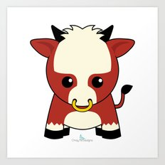 Zodiac Kawaii Ox Art Print