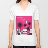 concrete V-neck T-shirts featuring concrete jungle by k. Wang