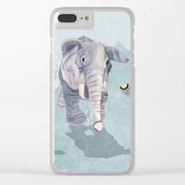 Elephants In Blue Clear iPhone Case