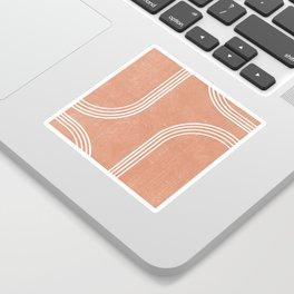 Mid Century Modern 2 - Geometrical Abstract - Minimal Print - Terracotta Abstract - Burnt Sienna Sticker