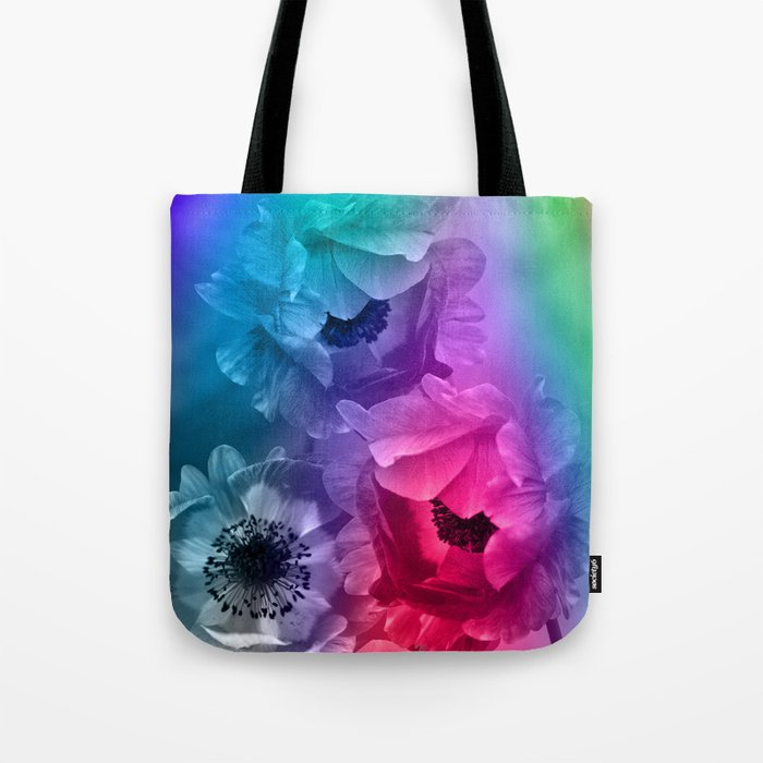 Colourful Anemone flowers on an abstract background Tote Bag