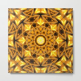 Liquid Gold Mandala Metal Print