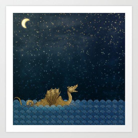 Sea Monster & Stars Night Sky by gogaart