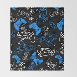 Video Games Blue on Black Throw Blanket