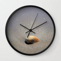 seashell Wall Clocks featuring Seashell by Maria Heyens