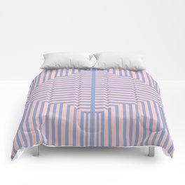 All Roads - Rose Quartz and Serenity Op-Art Comforters