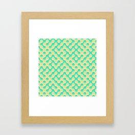 Yellow Deep Sea Green Truchet Tilling Pattern Framed Art Print