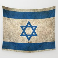 israel Wall Tapestries featuring Old and Worn Distressed Vintage Flag of Israel by Jeff Bartels